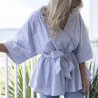Embrace Change Grey Striped Surplice Kimono Top