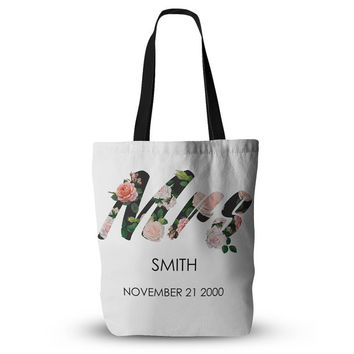 CUSTOM NAME and DATE Coral Peach Floral Print Wife Wifey Fiancee Hip Hop Wedding Bride Future Mrs Tote Bag 18x18