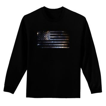 American Flag Galaxy Adult Long Sleeve Dark T-Shirt by TooLoud