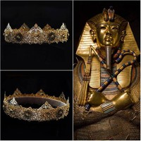 Gold Lion Mens Crown Custom Gold Hair Accessories King Cosplay
