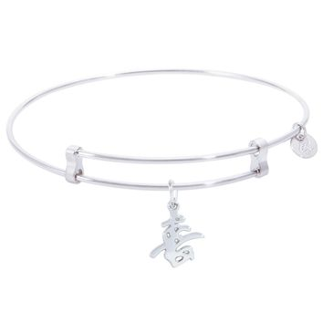 Sterling Silver Confident Bangle Bracelet With Happiness Symbol Charm