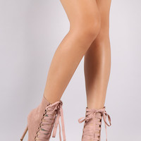 Liliana Suede Pointy Toe Grosgrain Lace Up Stiletto Booties