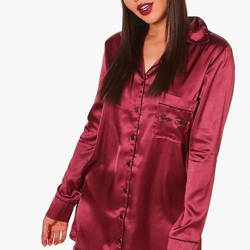 Lola 'Sleep All Day' Slogan Satin Night Dress | Boohoo