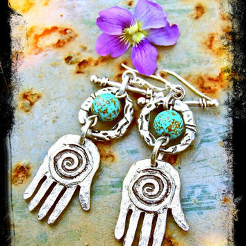 HEALING HAND Earrings Hamsa Hand Fatima Earrings Hippie by GPyoga
