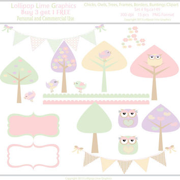 Chicks Trees Owls Frames Borders Buntings Digital Clipart Instant Download Pastel Clip Art Commercial Use Graphics