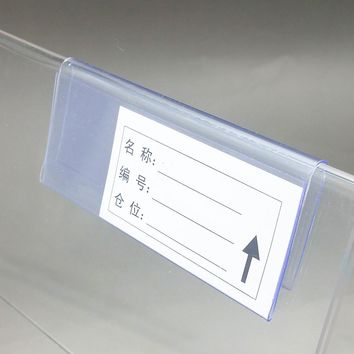 10/8/6cmx4.2cm Clear Plastic PVC Price Tag Sign Label Display Clip Holder For Supermarket Store Wood Glass Shelf Fitting 50pcs