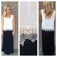 White Summer Breeze Crochet Tank