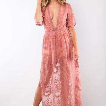 Leave You Breathless Lace Maxi Romper in Ginger