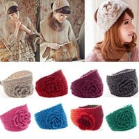 Fashion Crochet Headband Knit Hairband Flower Winter Women Warmer Headwrap = 1946372932