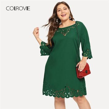 COLROVIE Plus Size Green Solid Elegant Laser Cut Out Swing Lace Dress Women Black Half Sleeve Office Mini Dresses