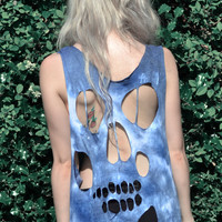 Skull cut out distressed tshirt vest. TIE DYE blue, pink, lilac or grey