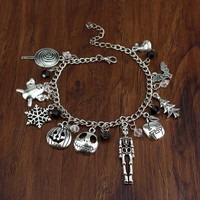 The Nightmare Before Christmas Bracelet With Christmas Tree Snowflake Pumpkin Charm Bracelet For Christmas Gift