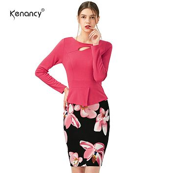 S-5XL Women's Full Sleeve  Floral Print Elegant Autumn Winter Solid Patchwork Button Casual Work Bodycon Plus Size office Dress