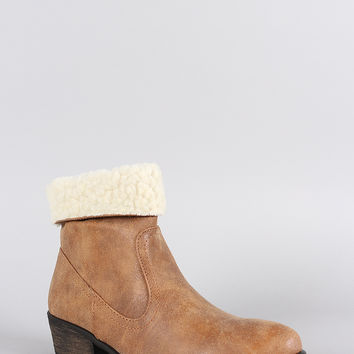 Dollhouse Western Flair Shearling Cuff Booties