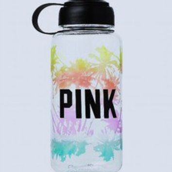 NWT Victoria's Secret PINK Palm Tree Tropical Sport Water Bottle BPA FREE 32 oz.
