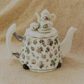 Portmeirion Teapot,  Botanic Garden, Miniature Tea Party, Made in England, Bone China Teapot