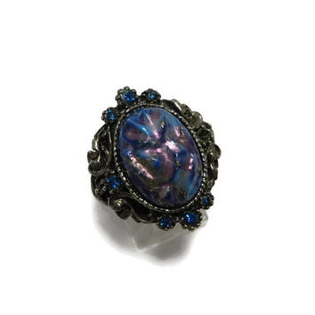 ON SALE! Blue Stone Statement Ring Vintage Estate Costume Jewelry Antique Style Ring Size 7, Adjustable