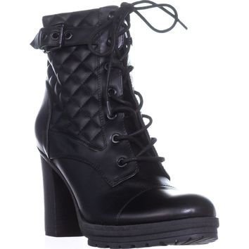 G by Guess Gift Platform Lace-Up Ankle Boots, Black, 7 US