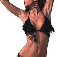 Black Halter Fringe Buckle Accent Bikini