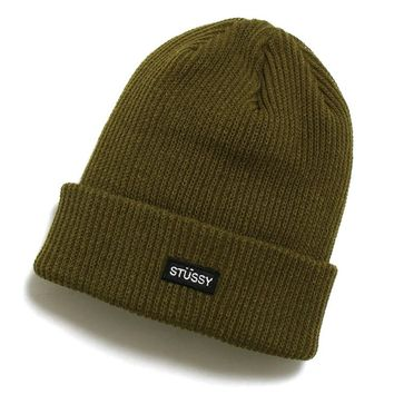 Small Patch Watch Cap Beanie Olive Green