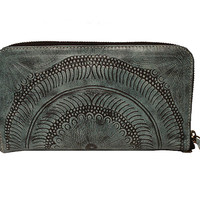 Moroccan Single Zip Around Wallet - Vaquetta Aqua