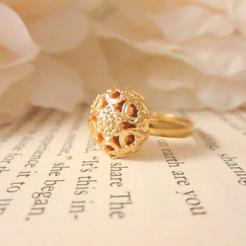 Vintage Button Ring, Gold dainty flower adjustable ring, statement ring, floral, bridesmaid gift, gold plated ring, Valentines Day