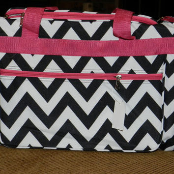 Personalized large chevron duffle bag