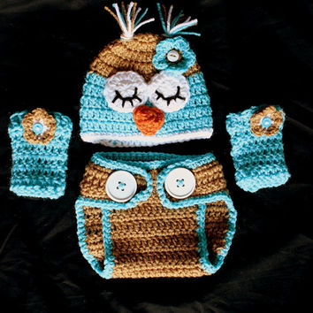 Crochet Turquoise/Brown Infant Owl Set - Hat, Diaper Cover, Leg Warmers - Size 0-3 Months