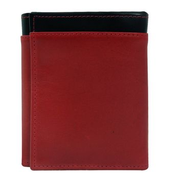 Women's 100% Genuine Leather -- Compact Trifold Wallets-The Jill-- Two Tone --Red With Black