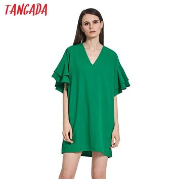 Tangada Fashion Women Summer Green Dress Sexy V-Neck Butterfly Short Sleeve Straight Dresses Casual Female Brand Vestidos B3