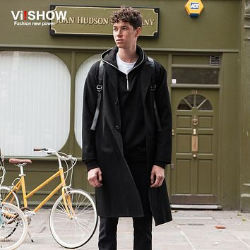 VIISHOW Long Trench Coat Men Single Breasted Pea Coats Men Casual Black Long Jacket Men Fashion Coat Men Overcoat FC14063