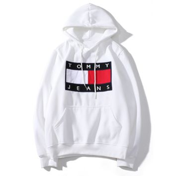 Tommy New fashion bust letter print couple hooded long sleeve sweater top