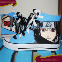 Uchiha Sasuke Converse Shoes-Hand Painted Naruto Converse Shoes, Custom Converse Sasuke Canvas Shoes, Special Christmas Gift for Naruto Fans