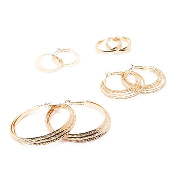 Etched Hoop Earring Set