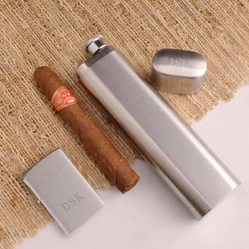 Cigar Case Flask with Zippo Lighter with Free Engraving
