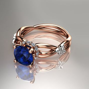 Gold Blue Sapphire Engagement Ring 14K Rose Gold Art Nouveau Engagement Ring