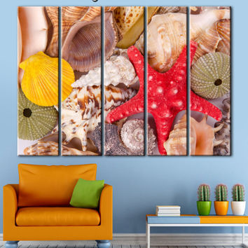 Sea Shell Print  Sea Shel canvas Sea Shel poster Sea Shel wall art Sea Shel decor Sea Shel art Starfish decor Starfish wall art