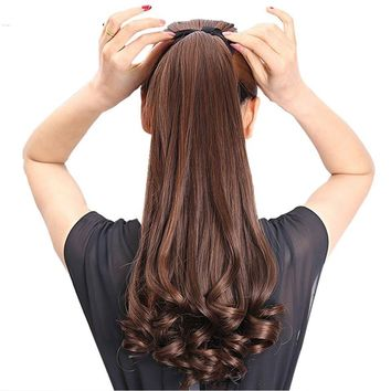 Long Curly Synthetic Ponytail Light Brown Hair Extensions