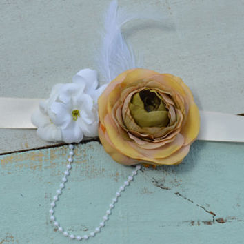Champagne/ Brown Sash/ Wedding Sash/ Flower Girl/ Pageant/ Maternity