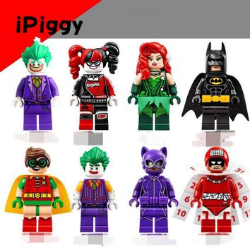 2017 Popular DIY Batman Movie Super Heroes Joker Harley Robin Catwoman Quinn Building Glam Metal Batman Block Figures Toys