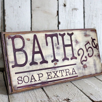 Bathroom Sign Hand Painted and Distressed by MannMadeDesigns4