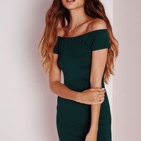 Missguided - Bardot Bodycon Jersey Dress Forest Green
