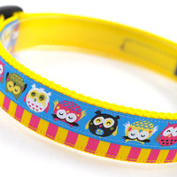 "Layered Ribbon Dog Collar ""Topsy Turvy Owls"" - 1"" Width - Available in 2 Sizes (M or L)"