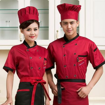 high quality Summer Short-sleeved Chef service jackte Hotel working wear Restaurant work clothes Tooling uniform cook Tops
