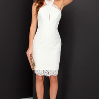 Keepsake High Roads Ivory Lace Halter Dress