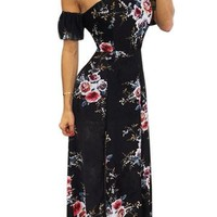 Black Off Shoulder Floral Print High Waist Maxi Dress