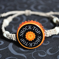 Orange, Black and Yellow Shock Top Recycled Beer Cap Hemp Adjustable Bracelet