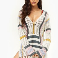 Open-Knit Swim Cover-Up Hoodie