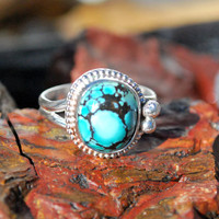 Turquoise Ring - Spiderweb Turquoise Ring - Blue Turquoise Ring - Southwestern Jewelry - Sterling Silver Ring - Size 8 Ring - Turquoise