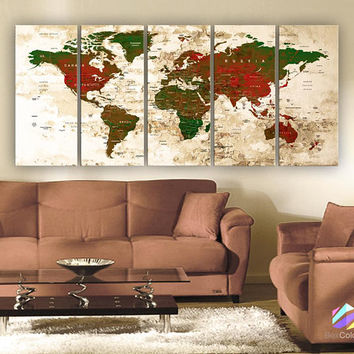 "XLARGE 30""x70"" 5 Panels 30""x14"" Ea Art Canvas Print Watercolor Green Red Map World Push Pin Travel Wall decor (framed 1.5"" depth)M1824"